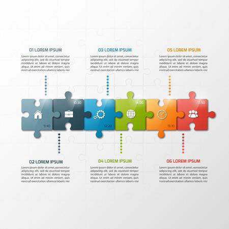 벡터 6 단계 퍼즐 스타일 타임 라인 infographic 템플릿. 비즈니스 개념입니다.