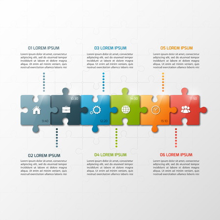 Vector 6 steps puzzle style timeline infographic template. Business concept. Stock Illustratie