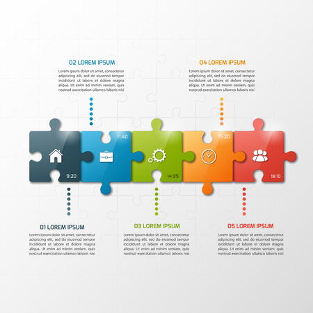Vector 5 steps puzzle style timeline infographic template. Business concept.