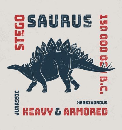 stegosaurus: Stegosaurus dise�o de la camiseta, impresi�n, tipograf�a, etiqueta. Ilustraci�n del vector.