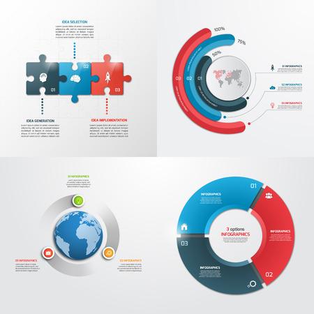 3 Schritte Vektor Infographik Vorlagen . Geschäftskonzept Standard-Bild - 62145264