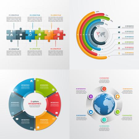 6 Stufen Vektor Infografik-Vorlagen. Geschäftskonzept. Standard-Bild - 62145265