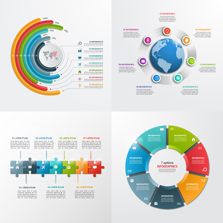 7 steps vector infographic templates. Business concept.