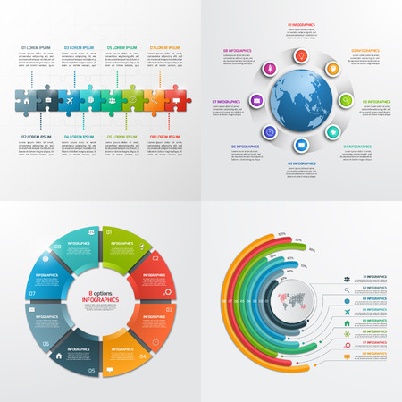 8 steps vector infographic templates. Business concept.
