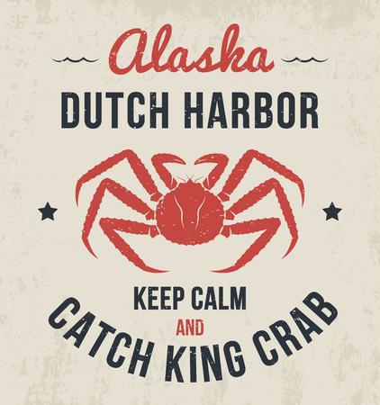 Alaska t-shirt design, print, typography, label with king crab. Vector illustration. Stock fotó - 62145267