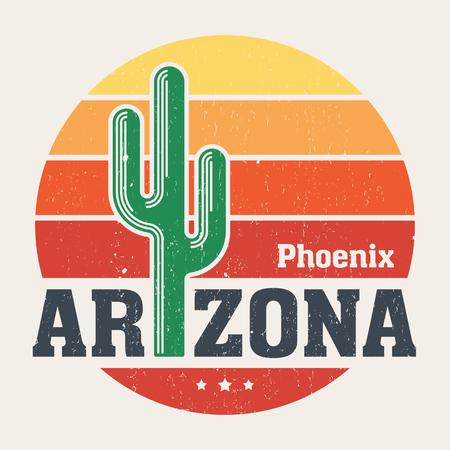 Arizona t-shirt ontwerp, print, typografie, label met gestileerde saguaro cactus en zon. Vector illustratie.