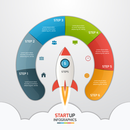 6 steps startup circle infographic template with rocket. Business concept. Vector illustration.