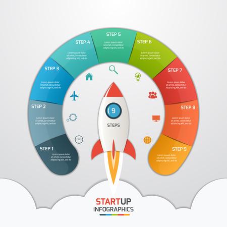 9 Schritte Startup Kreis Infografische Vorlage mit Rakete. Geschäftskonzept. Vektor-Illustration. Standard-Bild - 62145286