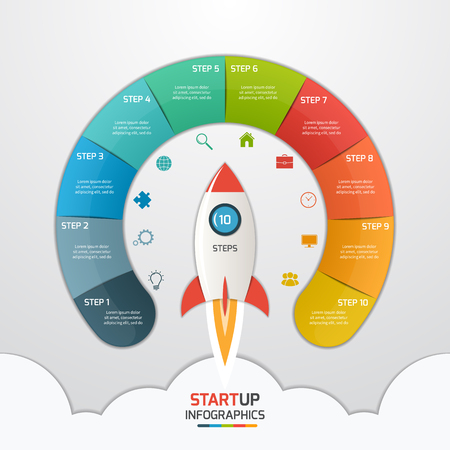 10 stappen startup cirkel infographic sjabloon met raket. Business concept. Vector illustratie.