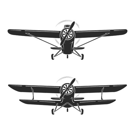 Old retro vintage airplanes emblem, icon, label. Monoplane and biplane vector illustration. Illusztráció