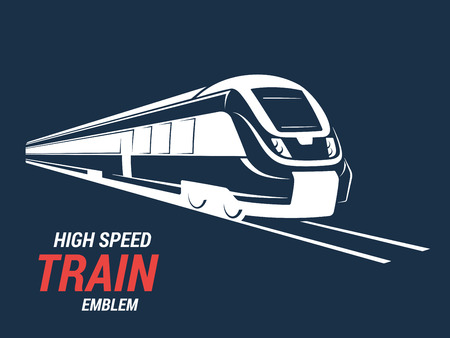 commuter: High speed commuter train emblem, icon, label, silhouette. Vector illustration.