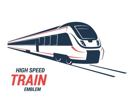 Alta velocidad de tren de cercanías emblema, icono, etiqueta, silueta. Ilustración del vector. Foto de archivo - 66487562
