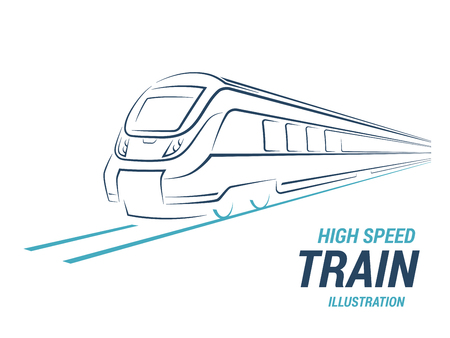 High speed commuter train emblem, icon, label, silhouette on white background. Vector illustration.