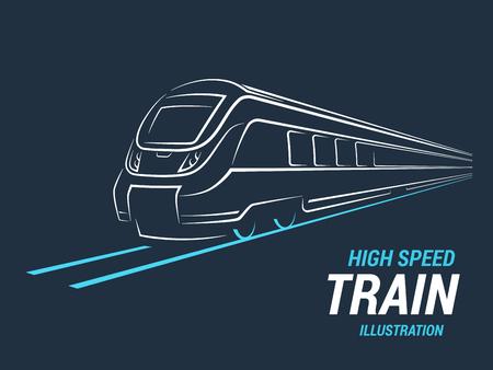 Alta velocidad de tren de cercanías emblema, icono, etiqueta, silueta. Ilustración del vector. Foto de archivo - 66487558