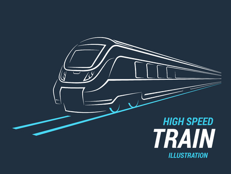 High speed commuter train emblem, icon, label, silhouette. Vector illustration.
