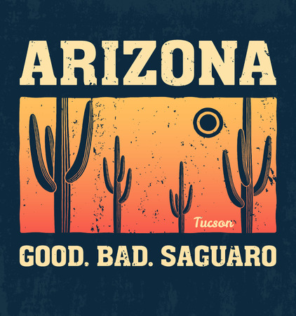 saguaro: Arizona t-shirt design, print, typography, label with saguaro cactus. Vector illustration.