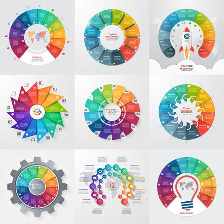 12 のオプション、手順、部品、プロセス 9 サークル インフォ グラフィック テンプレートのセットします。グラフ、チャート、図のビジネス コンセプトです。ベクトルの図。