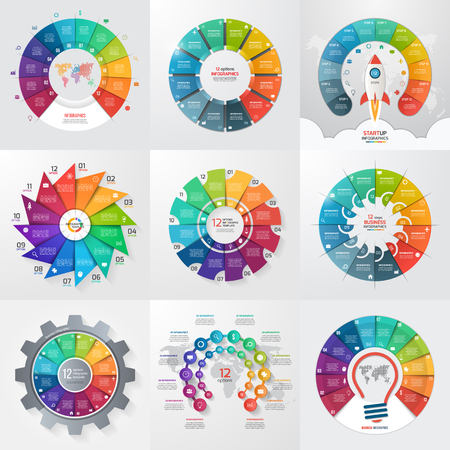 Set of 9 circle infographic templates with 12 options, steps, parts, processes. Business concept for graphs, charts, diagrams. Vector illustration. Illustration