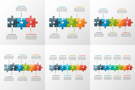 puzzle business: Set of vector puzzle style timeline infographic templates with of 3-8 steps, options, parts, processes. Business concept for graphs, charts, diagrams. Vector illustration.