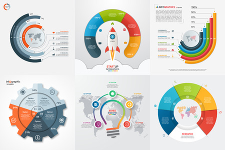 charts and graphs: Set of six infographic 5 options, steps, parts, processes templates. Business concept for graphs, charts, diagrams. Vector illustration.