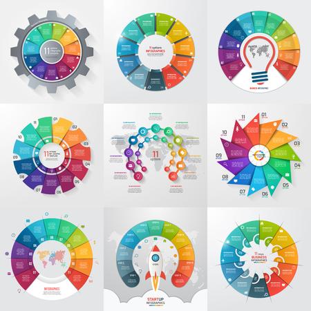 11 가지 옵션, 단계, 부품, 프로세스가있는 9 개의 원형 인포 그래픽 템플릿 세트. 그래프, 차트, 다이어그램에 대 한 비즈니스 개념입니다. 벡터 일러스