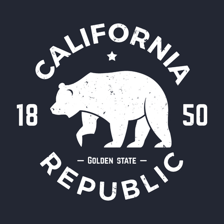souvenir: California t-shirt with grizzly bear. T-shirt graphics, design, print, typography, label, badge. Vector illustration. Illustration