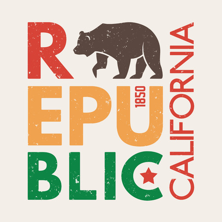 California t-shirt with grizzly bear. T-shirt graphics, design, print, typography, label, badge. Vector illustration.