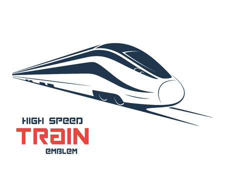 Modern high speed train emblem, icon, label, silhouette. Vector illustration.