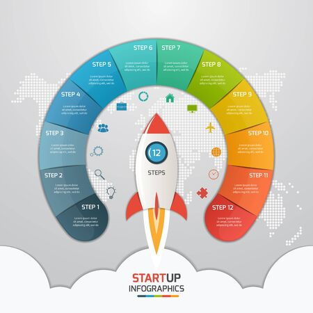 12 steps startup circle infographic template with rocket. Business concept. Vector illustration.
