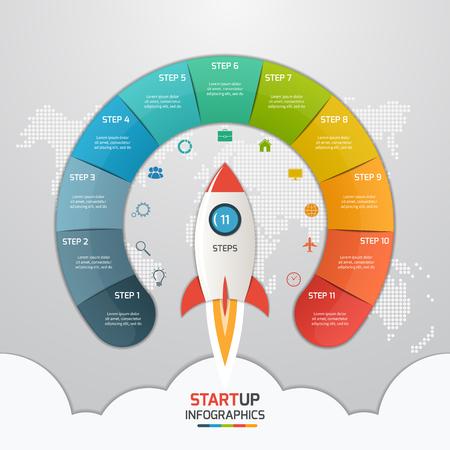Modelo de infográfico de círculo de inicialização de 11 passos com foguete. Conceito de negócios. Ilustração vetorial. Foto de archivo - 66584323
