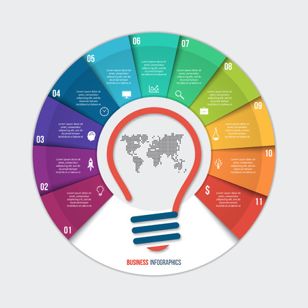 Vector idea pie chart infographic template for graphs, charts, diagrams. Business concept with 11 options, parts, steps, processes.
