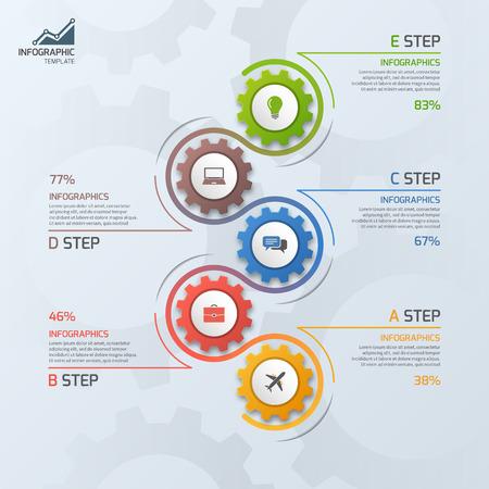 Línea de tiempo plantilla de negocio infográfico con engranajes ruedas dentadas 5 pasos, procesos, piezas, opciones. Ilustración del vector. Foto de archivo - 66584334