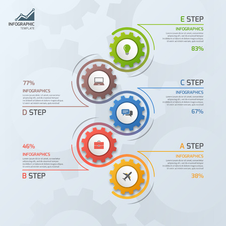 Timeline-Geschäft Infografik-Vorlage mit Getriebe cogwheels 5 Stufen, Prozesse, Teile, Optionen. Vektor-Illustration. Standard-Bild - 66584334