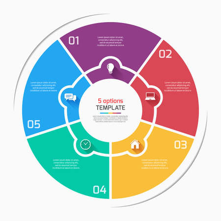 style template: Flat style pie chart circle infographic template with 5 options, steps, parts, processes. Vector illustration.