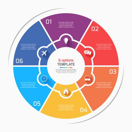 Estilo plano gráfico circular infografía plantilla con 6 opciones, pasos, partes, procesos. Ilustración vectorial Foto de archivo - 66487786