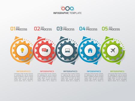 Modello di infographic di affari con ingranaggi ruote dentate 5 passaggi, processi, parti, opzioni. Illustrazione vettoriale Vettoriali
