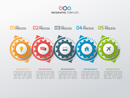 Plantilla de infografía de negocios con piñones engranajes 5 pasos, procesos, partes, opciones. Ilustración vectorial Ilustración de vector