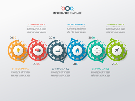 Business infographic template with gears cogwheels 6 steps, processes, parts, options. Vector illustration.
