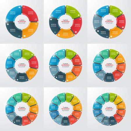 Zestaw szablonów infograficznych okręgu kołowego z 4-12 opcjami, krokami, częściami, procesami. Ilustracji wektorowych.