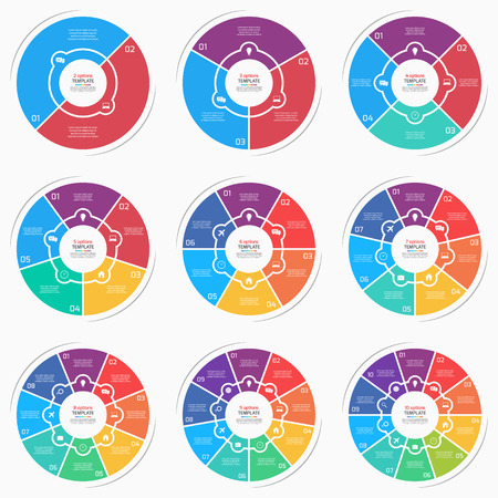 Set of flat style pie chart circle infographic templates with 2-10 options, steps, parts, processes. Vector illustration.