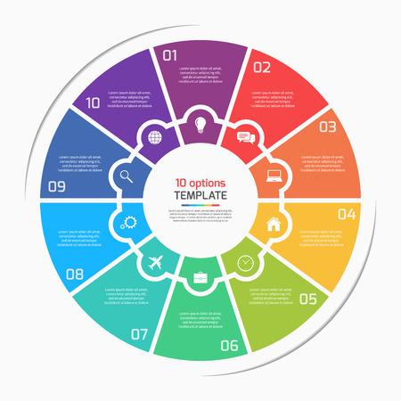 フラット スタイル円グラフ円インフォ グラフィック テンプレート 10 のオプション、手順、部品、プロセス。ベクトルの図。  イラスト・ベクター素材
