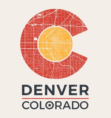 덴버 도시지도와 콜로라도 티셔츠 그래픽 디자인입니다. 티셔츠 인쇄, 타이포그래피, 라벨, 배지, 엠블럼 벡터 일러스트 레이 션.