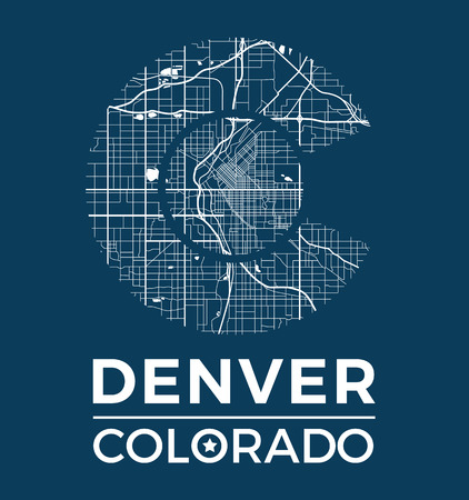 colorado mountains: Colorado t-shirt graphic design with denver city map. Tee shirt print, typography, label, badge, emblem. Vector illustration.