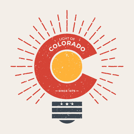 t bulb: Colorado t-shirt graphic design with styled light bulb. Tee shirt print, typography, label, badge, emblem. Vector illustration. Illustration