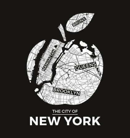 도시지도 함께 뉴욕 큰 사과 티셔츠 그래픽 디자인. 티셔츠 인쇄, 타이포그래피, 라벨, 배지, 엠블럼 벡터 일러스트 레이 션. 일러스트