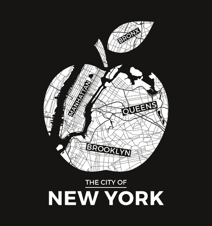 New York big apple t-shirt graphic design with city map. Tee shirt print, typography, label, badge, emblem. Vector illustration.