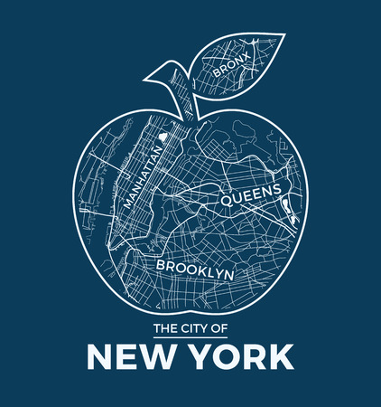 New York Big Apple Tshirt Graphic Design With City Map Tee - Large image map of us vector labels