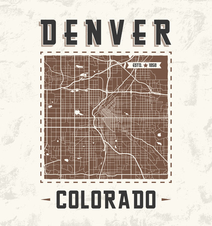 Colorado vintage t-shirt graphic design with denver city map. Tee shirt print, typography, label, badge, emblem. Vector illustration.