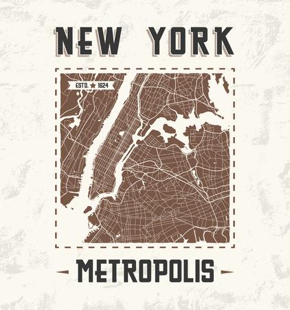 New York vintage t-shirt graphic design with city map. Tee shirt print, typography, label, badge, emblem. Vector illustration.  イラスト・ベクター素材