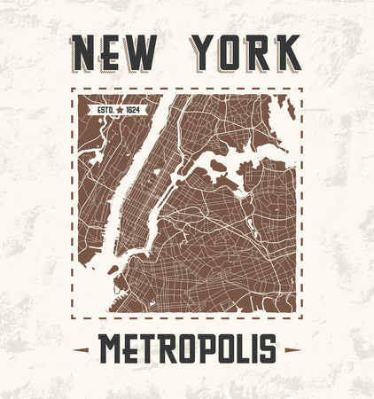 New York vintage t-shirt graphic design with city map. Tee shirt print, typography, label, badge, emblem. Vector illustration.